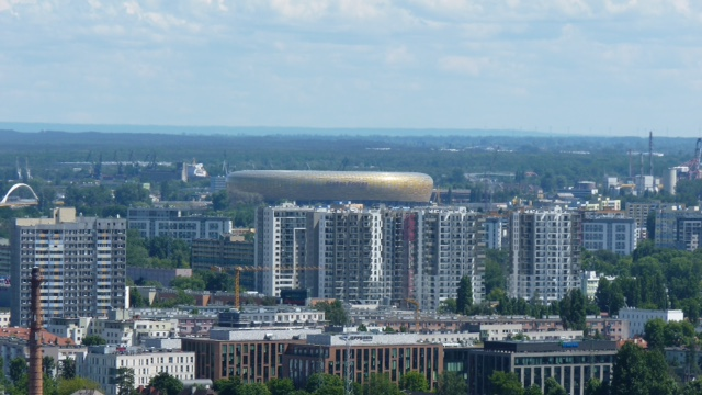 View from the tower on Pacholek Hill on amongst others the Stadion Energa Gdańsk stadium