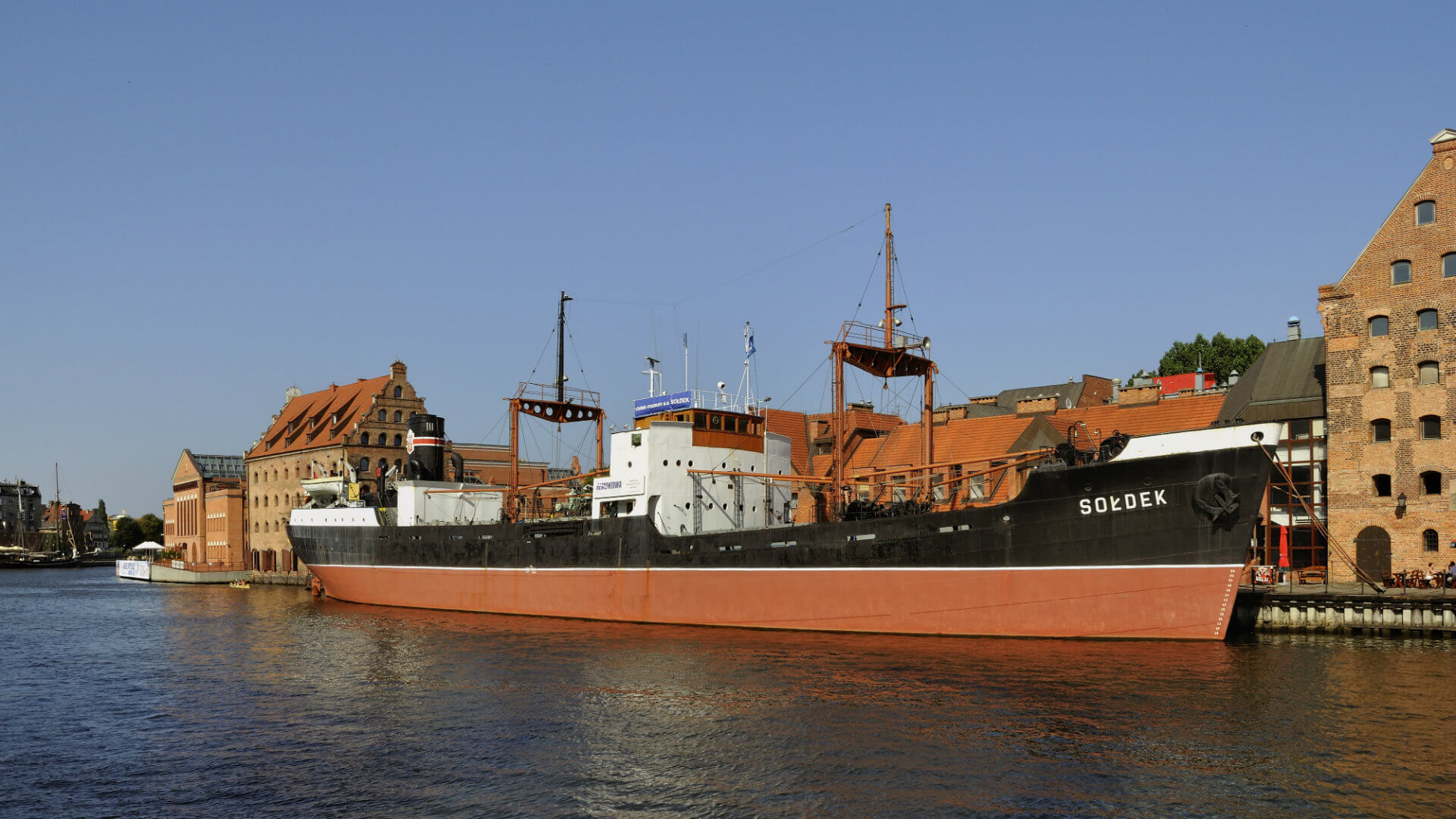 The SS Sołdek in Gdańsk once an ore and coal freighter, the first seaworthy ship built in Poland.