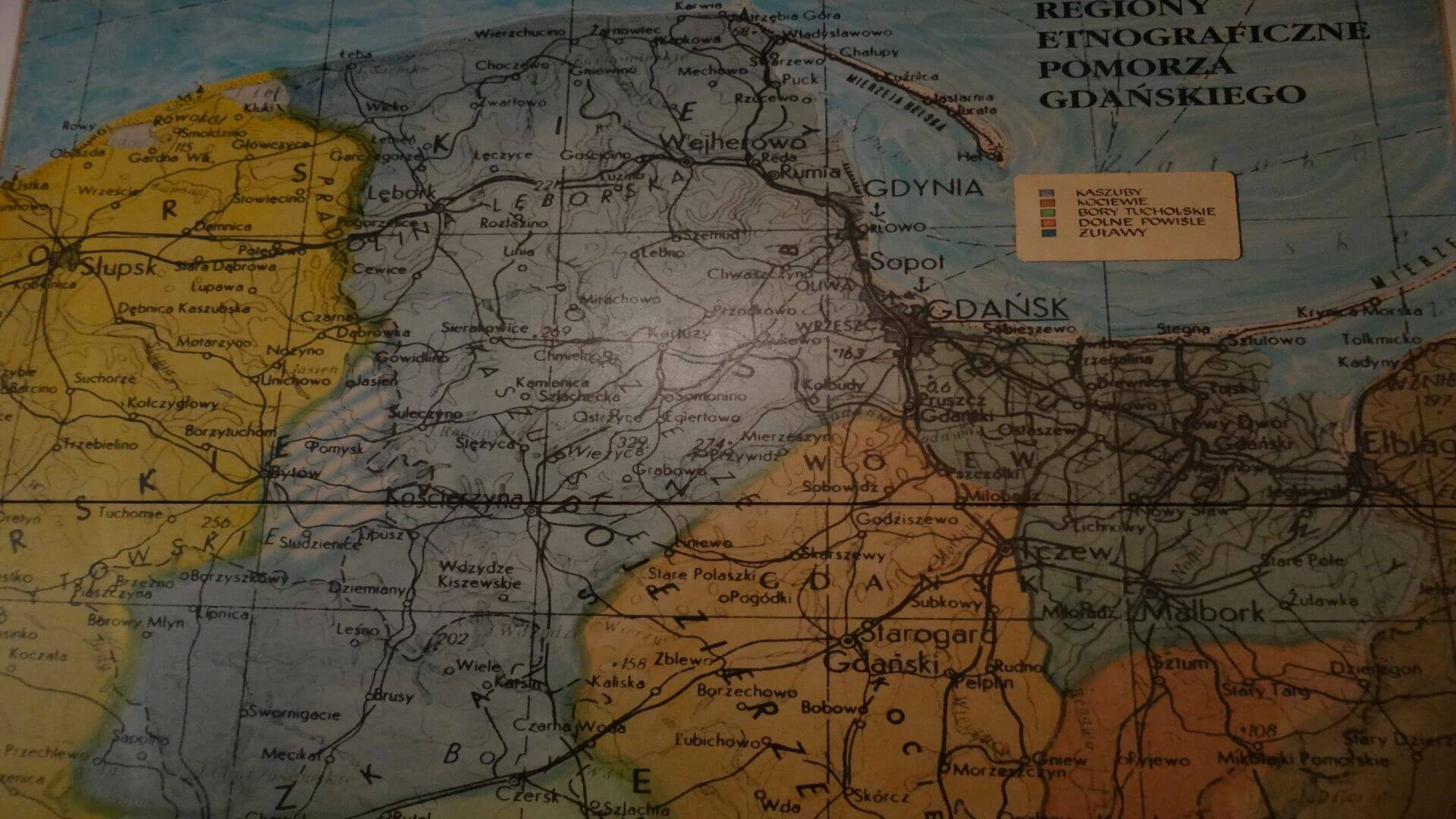 A map, shown at the entrance in the museum, depicts the borders between the regions in the Pomorska province of Poland. There still is discussing about the correct historical borders. Some say that Gdansk was the capital of the Kashubian region but this is disputed.