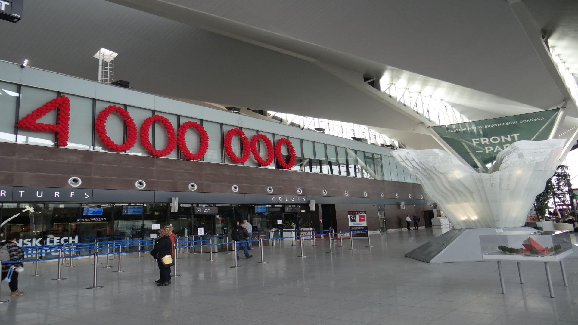 Gdańsk Lech Wałęsa airport, received 4 million visitors in 2016.