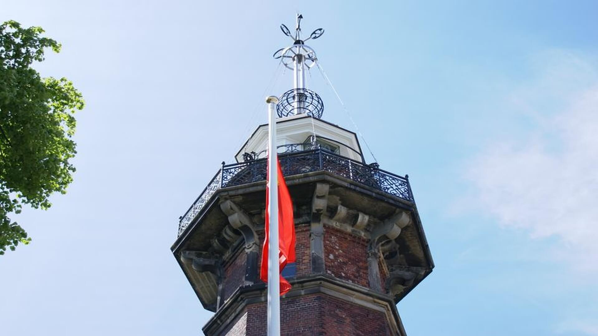 View of the upper part of the lighthouse with the unique time ball that enabled sailors to measure time accurately when sailing out.
